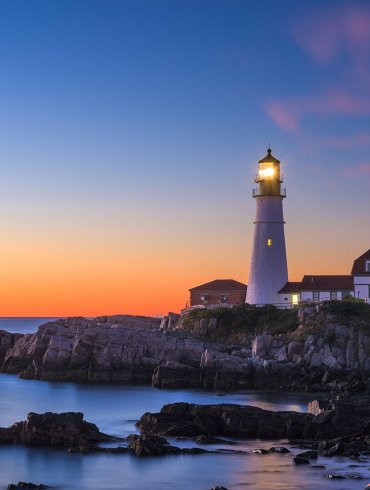 Lighthouse in Maine at dusk