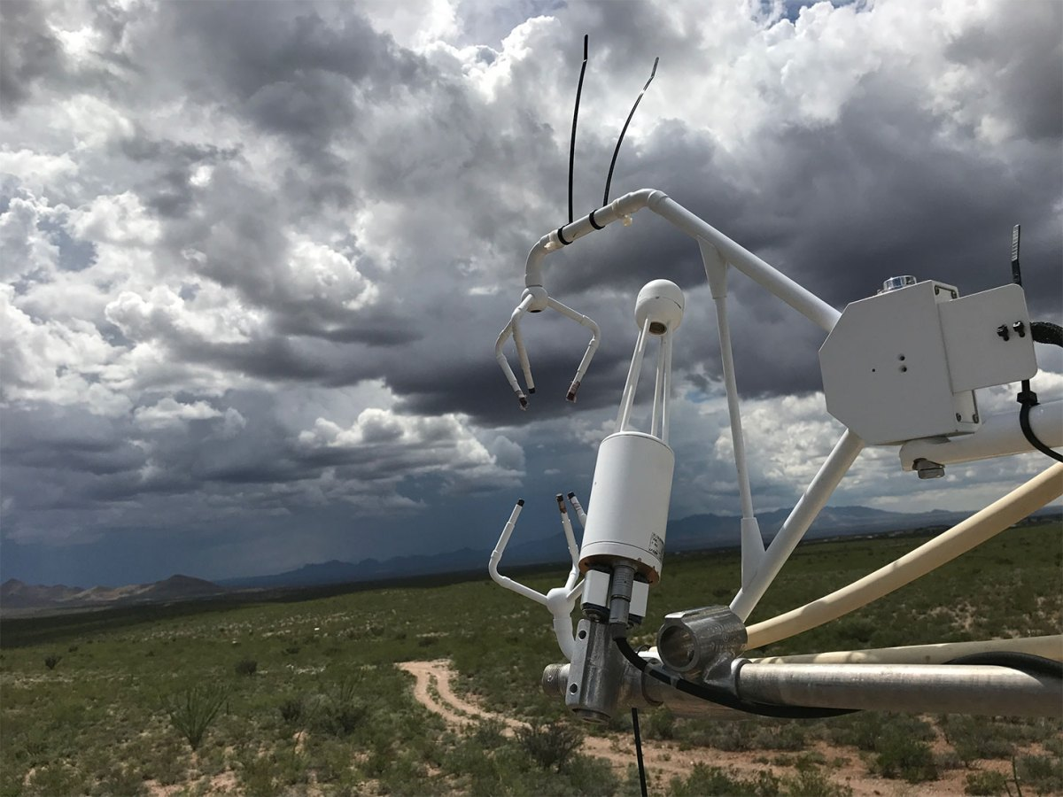 Scientific weather device with stormy skies