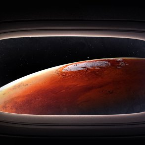 Mars viewed through spacecraft window