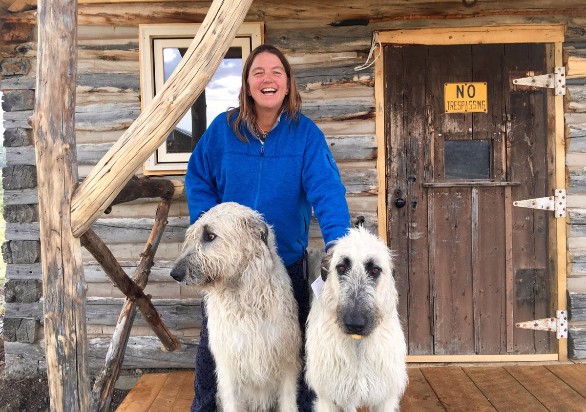 Pam Houston with her dogs