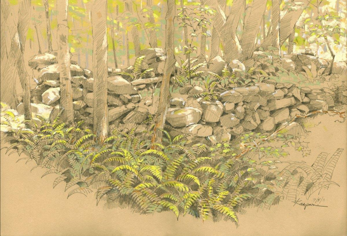 Plein air mixed-media drawing by Debby Kaspari