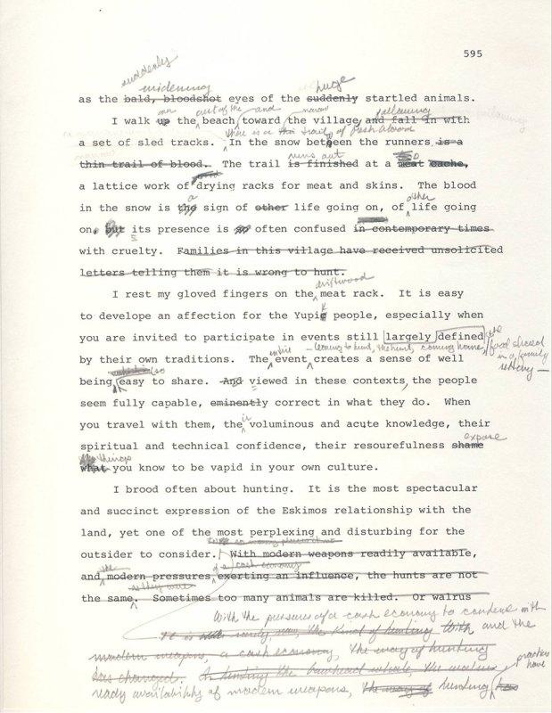 Early draft of Arctic Dreams epilogue