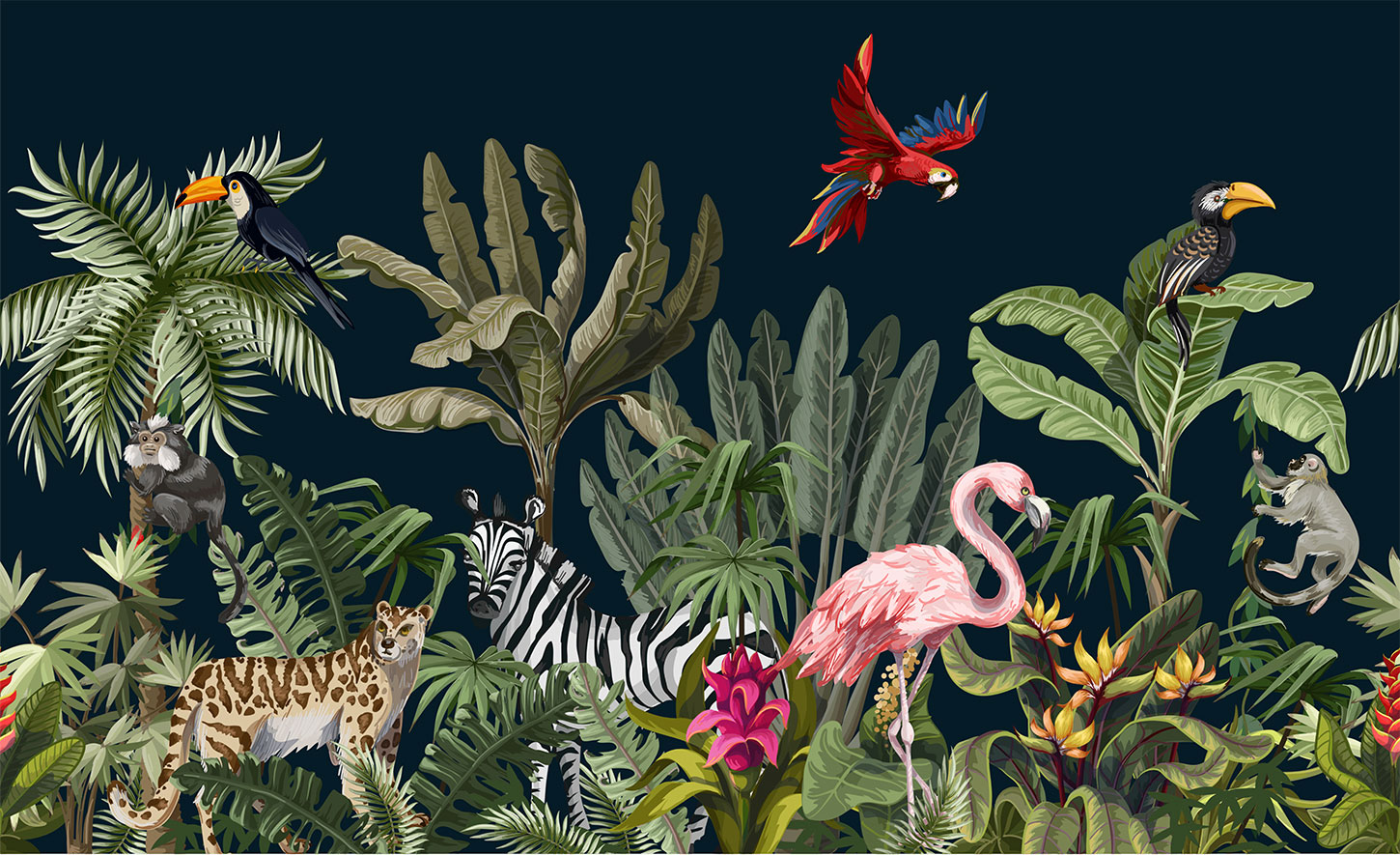 Illustration of jungle animals at night