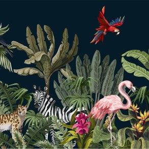 Illustration of jungle animals at night