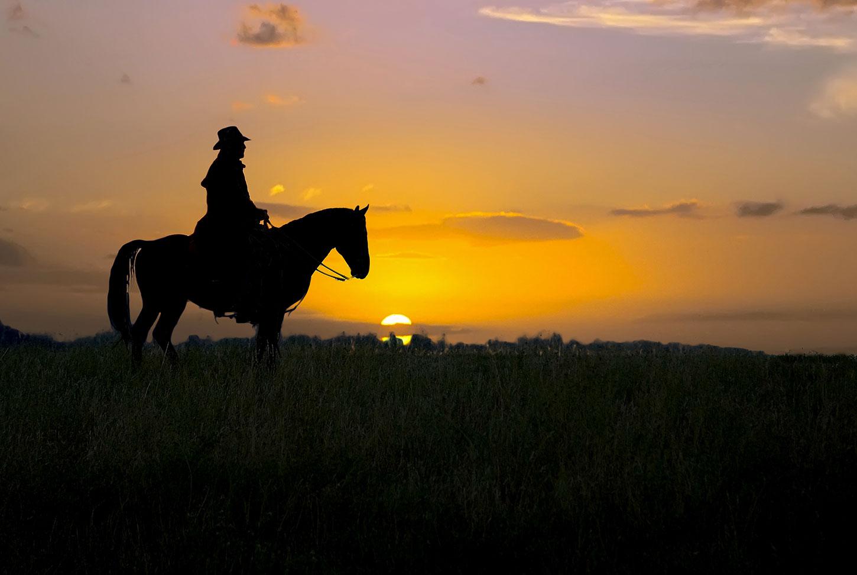 Silhouette of man on horseback at sunset