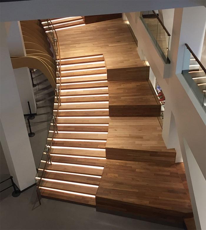 Rethinking The Humble Stair Tread 8 Reclaimed Wood Stair Tread | Solid Oak Stair Stringers | Mono Stringer | Handrail | Steel Stair | Deck Stairs | Flooring