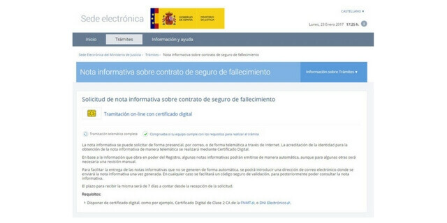 Web del Ministerio de Justicia sobre Ultimas Voluntades