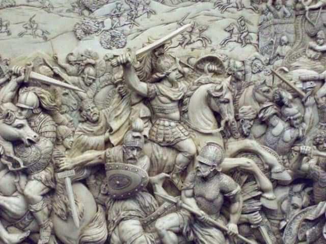 Bucéfalo, representado en piedra