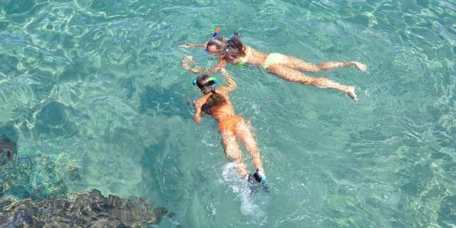Dos chcias practicando esnórquel en una playa con aguas transparentes.