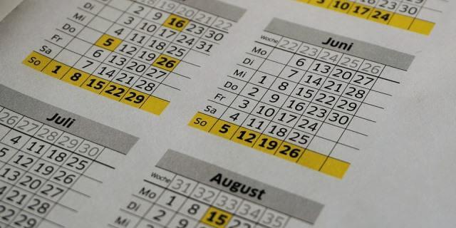 Calendario de los meses de mayo, junio, julio y agosto.
