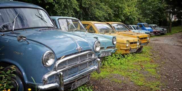 Coches clásicos aparcados en un ambiente otoñal.