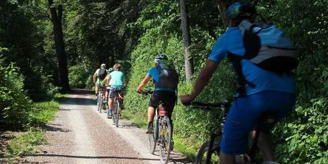 Ciclistas recorriendo una ruta.
