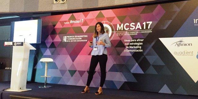responsable de ARAG en un evento hablando de la experiencia de la aseguradora con el uso de Big Data junto a Wenalyze