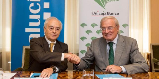 santalucia y unicaja en la firma de su alianza en 2017