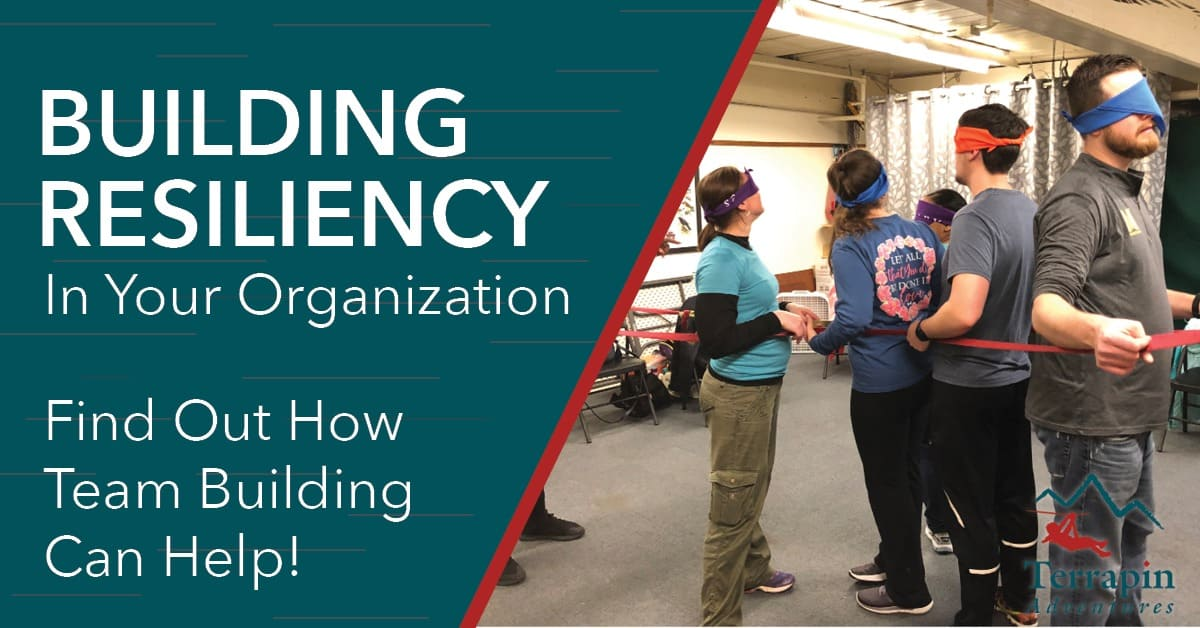 "The image reads ""Building Resiliency in Your Organization: Find out how team building can help."" There is an image of multiple people blindfolded and tied together."