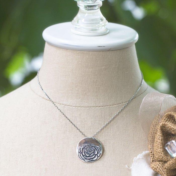 Peony Flower Necklace-Terra Rustica Jewelry