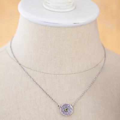Swirl Leaf Round Necklace-Terra Rustica Jewelry