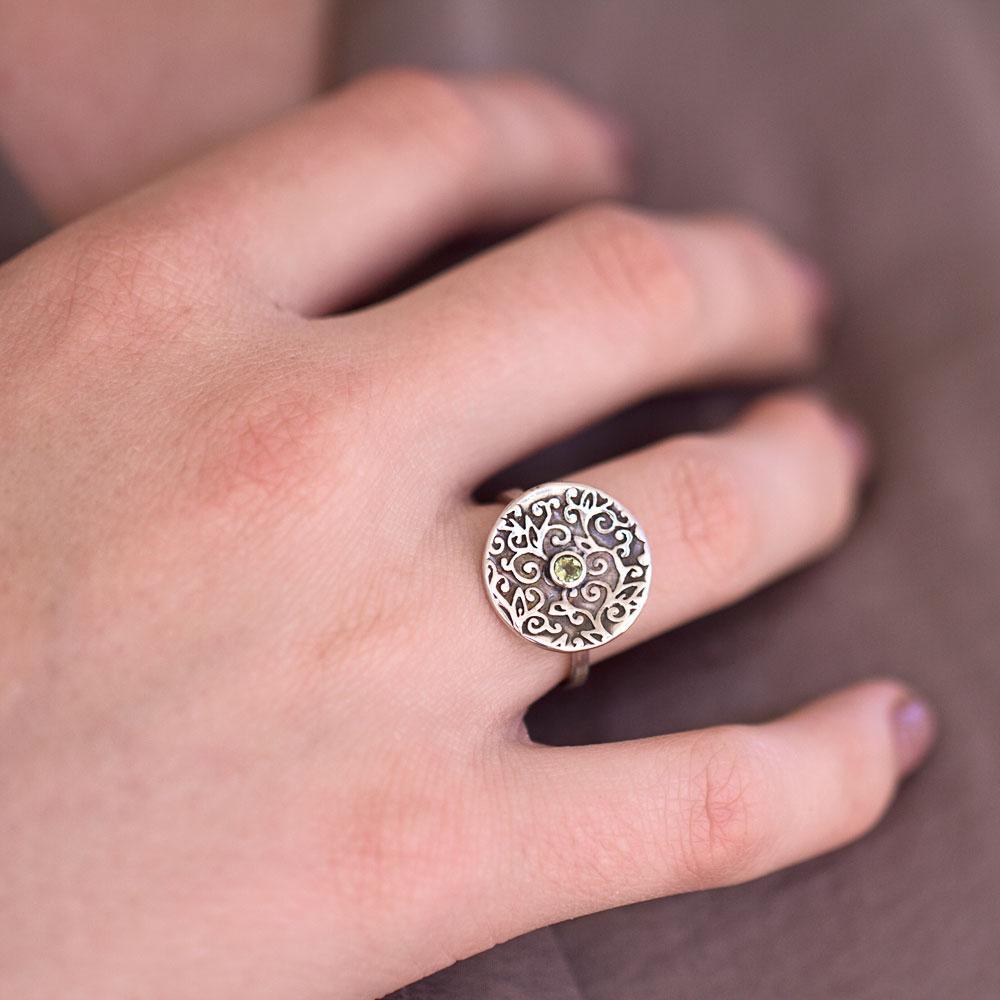 Swirl Leaf Round Ring with Peridot Gemstone ~ Terra Rustica Jewelry