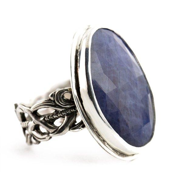Sapphire Ring with Flourish Band-Terra Rustica Jewelry