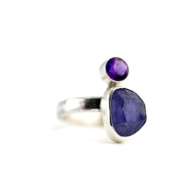 Tanzanite and Amethyst Ring-Terra Rustica Jewelry