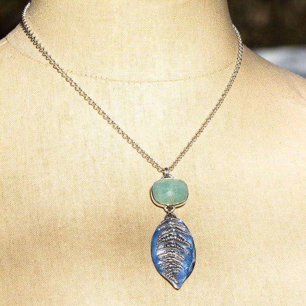 Rose Cut Aquamarine and Fern Leaf Necklace-Terra Rustica Jewelry