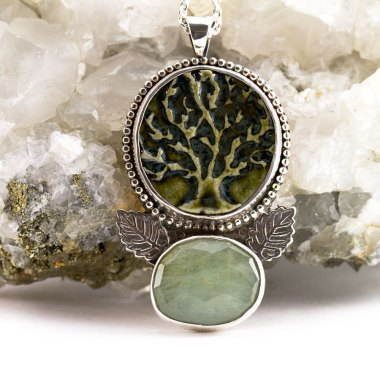 Deep Roots and Aquamarine Necklace-Terra Rustica Jewelry