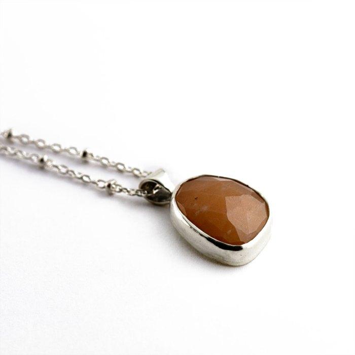 Peach Moonstone Rose Cut Necklace-Terra Rustica Jewelry