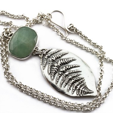 Rose Cut Aquamarine and Fern Leaf Necklace-Terra Rustica Jewelry