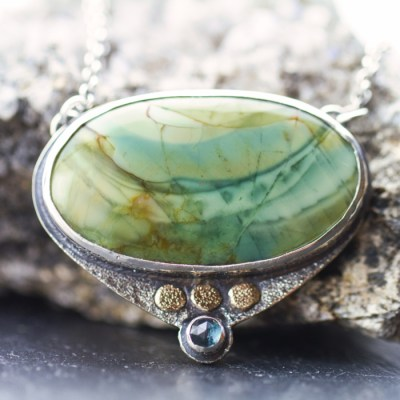 Loon Lake Imperial Jasper Stone Necklace-Terra Rustica Jewelry