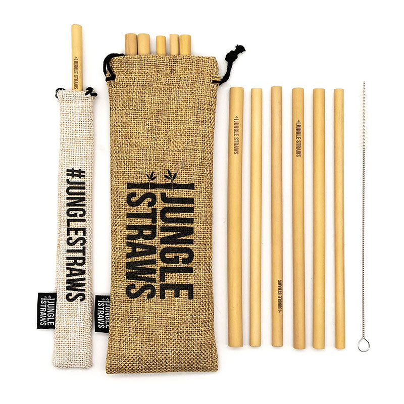 Jungle Straws Reusable Bamboo Straws With Pouch Set Of 6 Terrasmart