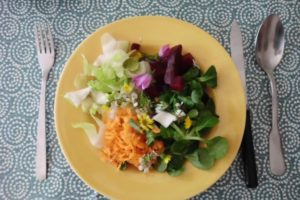 entrée crok'midi salade de fleurs