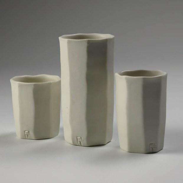 Trio Tasse KF 2 | Eric Faure | Trio de Tasses à Café | Produit | 54,00€ | 6291 | 3 tasses à café tournées et sculptées en porcelaine émaillée | Eric Faure | Terre et Terres | 30 avril 2021