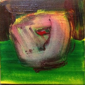 """Solo No.3: Ugly Apple"" (c)2012 - Acrylic on Stretched Canvas, 4"" x 4"""