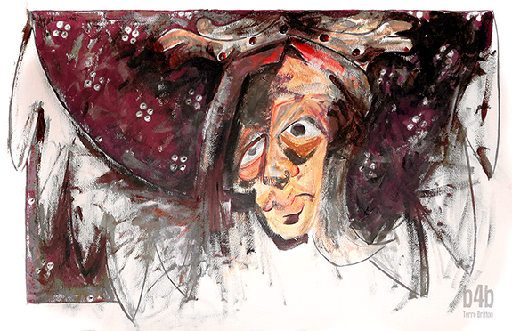 Mary - the Agony, Acrylic/Paper, 1984, & Digital Manipulation, 2014, by Terre Britton.