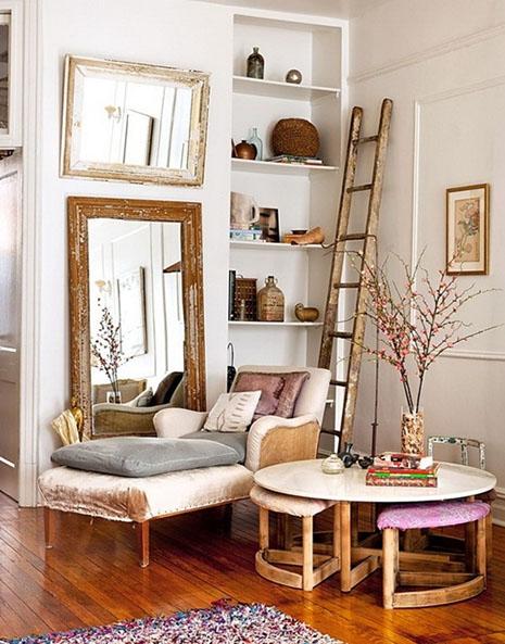 como decorar espacio pequeño. espejo divan