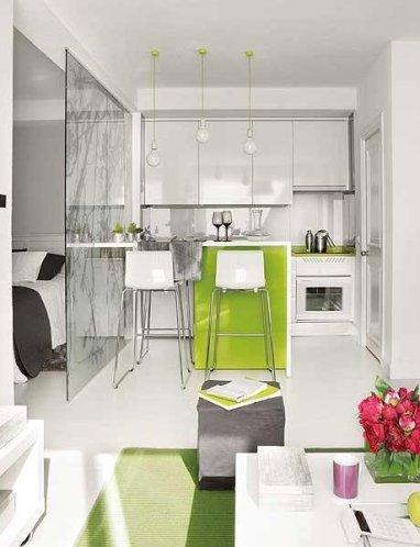como decorar espacios pequeños. cocina verde