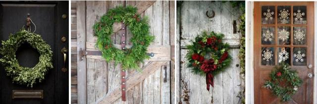 guirnalda en puerta. decoración de navidad