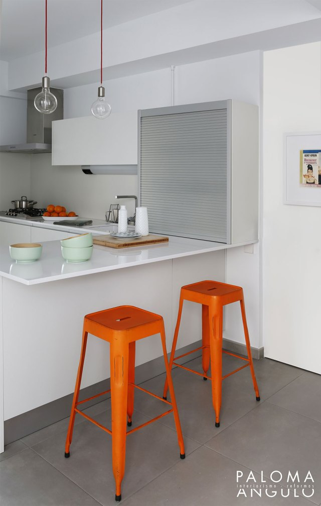 detalles taburetes industriales para reformar una vivienda en Madrid