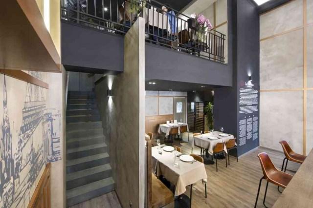 mobiliario para cafetería en doble altura