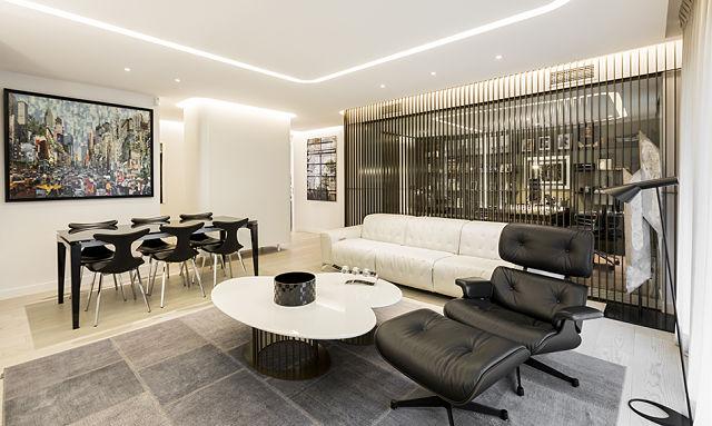 decoración de interiores de salón de vivienda