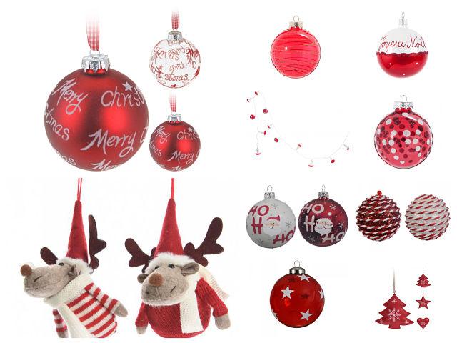 Adornos del árbol de Navidad en blanco y rojo