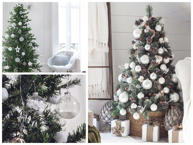 Decoración del árbol de Navidad en blanco
