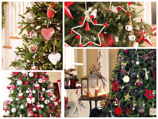 Decoración del árbol de Navidad en blanco y rojo