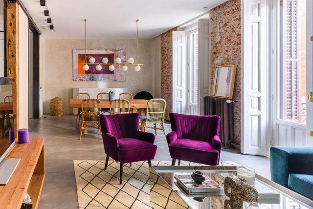 Salón comedor en reforma de un piso antiguo en Madrid