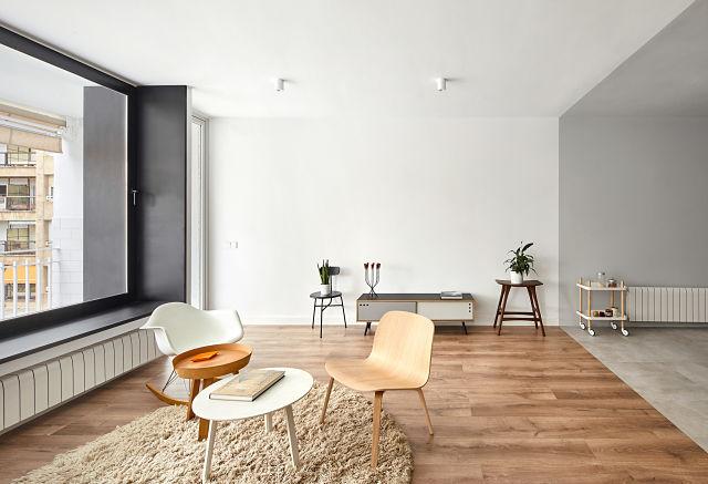 Salón en reforma de apartamento