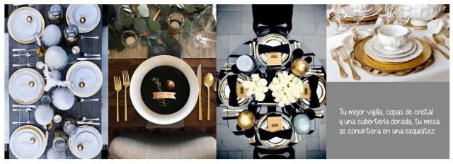 Decorar la mesa de Navidad con motivos dorados