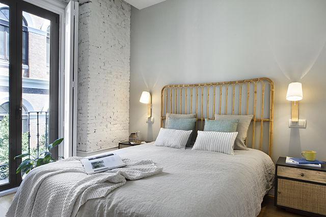 Decoración de dormitorio en apartamento chic botánico