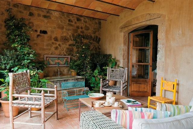 Decoración de exterior rústica y natural