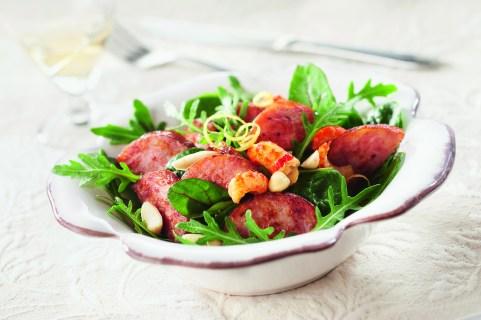 Salade saucisses Morteau montbeliard aux ecrevisses