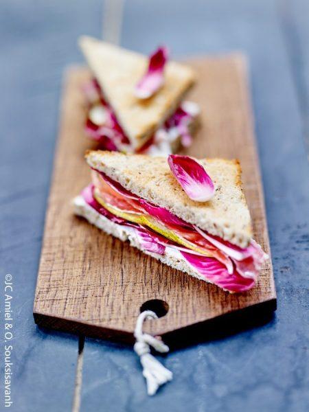 Sandwich endives carmine, carmine, jambon fumé